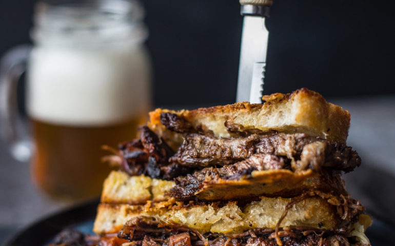 Smoked Brisket Grilled Cheese Sandwiches — Uses for leftover brisket