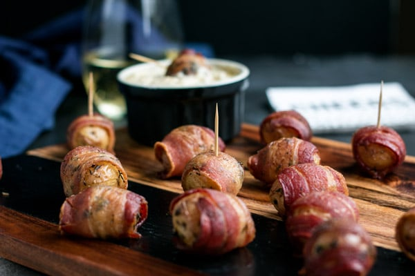 Bacon Wrapped Potatoes with Warm Apple Cream Cheese Dip
